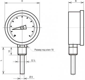 Термометр биметаллические показывающие ТБУ-63 чертеж