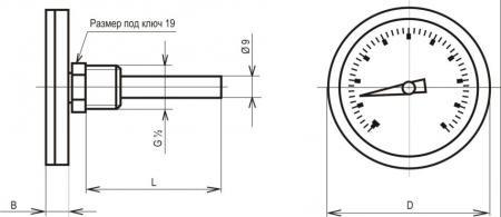 Термометр биметаллические показывающие ТБУ-63 чертеж 2