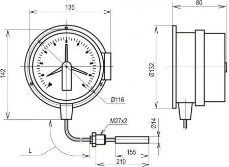 Термометр манометрический показывающий сигнализирующий ТМП-100С