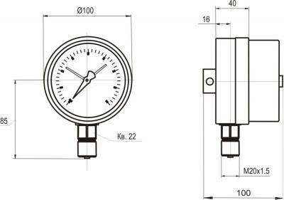 Габаритні і приєднувальні розміри МТ-3С