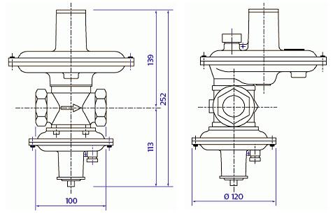 Габариты и вес регуляторов серии RB 2000