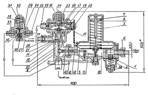 Регулятор  давления  газа комбинированный РДГД чертеж