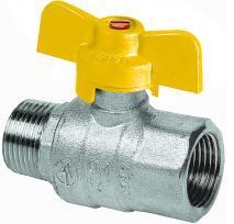 Шаровый кран газовый никелированный с алюминиевой рукояткой (наружная-внутренняя резьба)
