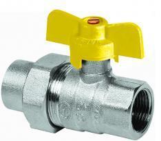 Шаровый кран газовый никелированный с соединительной муфтой и алюминиевой рукояткой