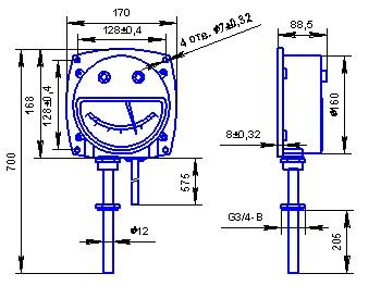Габаритные и присоединительные размеры термометра с радиальным расположением термобаллона