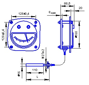 Габаритные и присоединительные размеры термометра с осевым расположением термобаллона ТКП-160Сг-М2