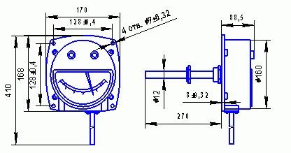 Габаритные и присоединительные размеры дистанционного термометра ТКП-160Сг-М2