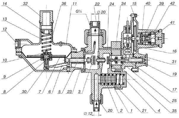 Схема регулятора давления газа РДГК10,10м