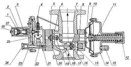 Схема регулятора давления газа РДСК-50, РДСК-50М, РДСК-50БМ